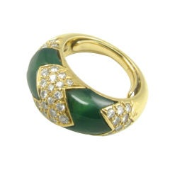 A Van Cleef & Arpels gold, diamond and chrysoprase ring.