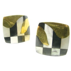 Tiffany & Co. yellow gold, mother of pearl and hematite earrings