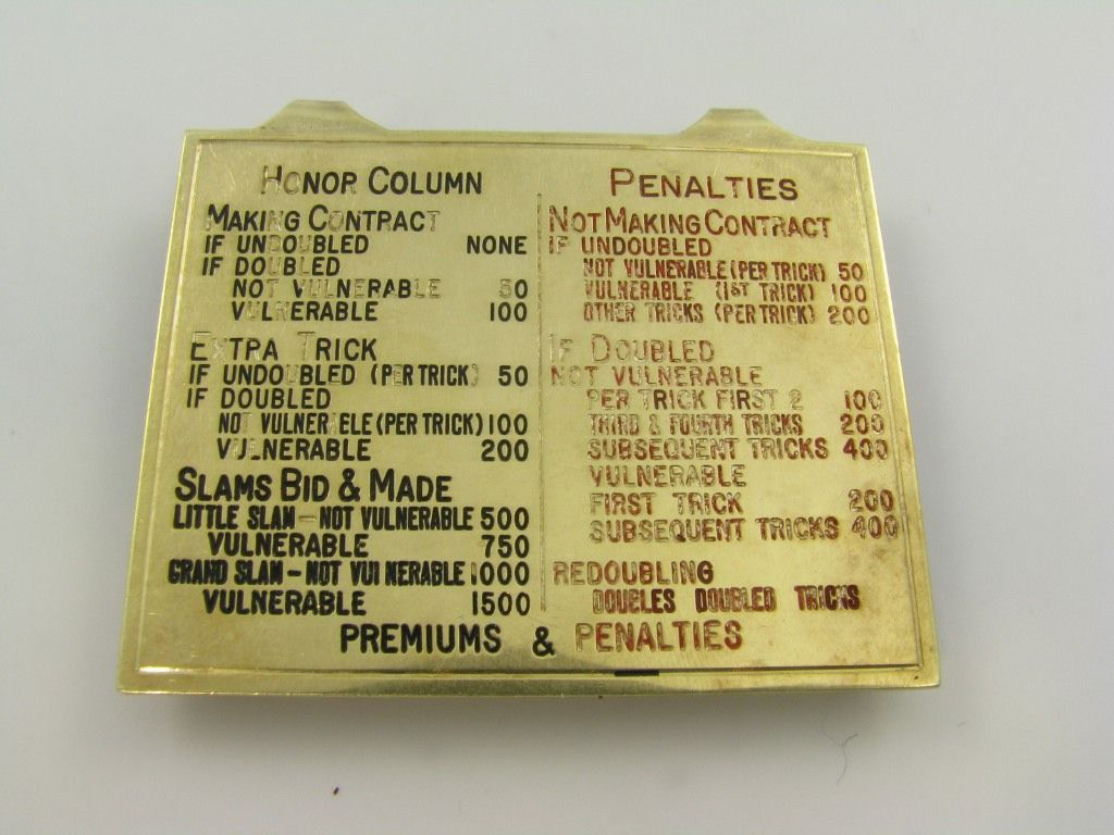 A 14 karat yellow gold and enamel money clip.  The money clip lists the rules and points of Bridge.