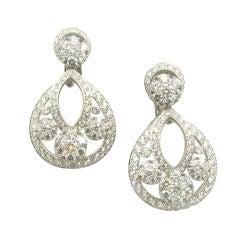 VAN CLEEF & ARPELS '' Snowflake'' Diamond Platinum Earrings