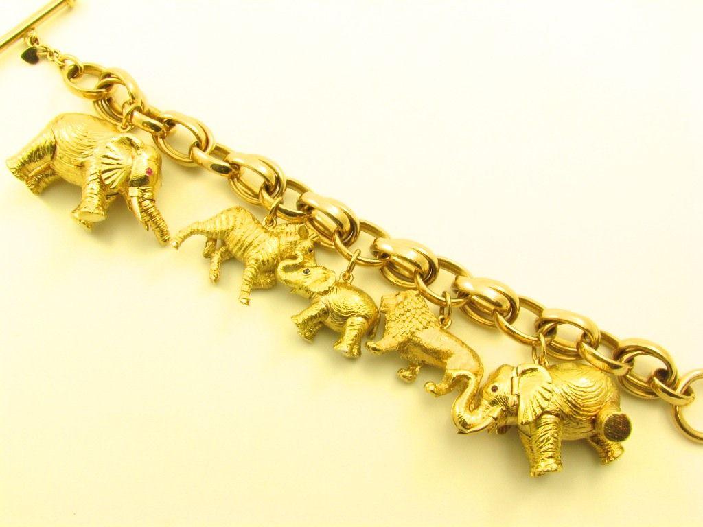 bielka chic gold elephant zebra and charm bracelet