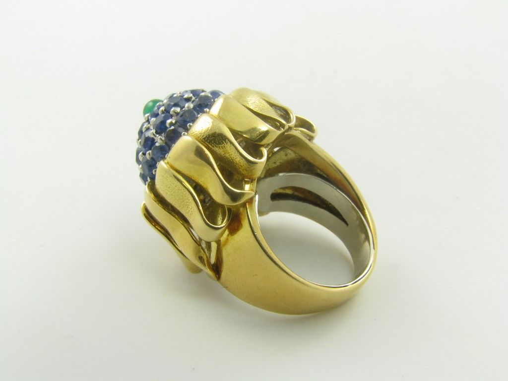 schlumberger gold sapphire and cabochon emerald