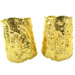 VAN CLEEF & ARPELS Rare and Important Large Hammered Gold Cuffs