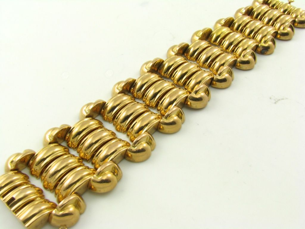 a fabulous chunky wide gold 40 s bracelet at 1stdibs