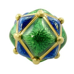A chic yellow gold, blue and green enamel dome shaped ring