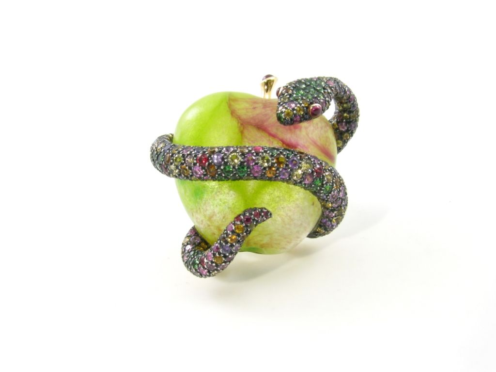 MARCHAK whimsical multicolored sapphire and garnet snake brooch 2