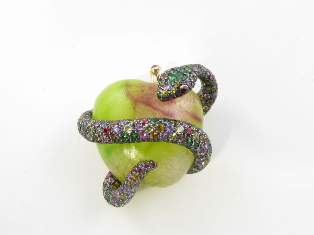 MARCHAK whimsical multicolored sapphire and garnet snake brooch 3