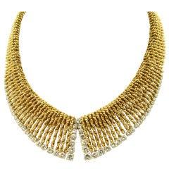 VAN CLEEF & ARPELS exquisite diamond and gold fringe necklace