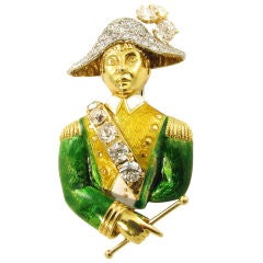 DAVID WEBB platinum set diamond, enamel and gold soldier brooch.