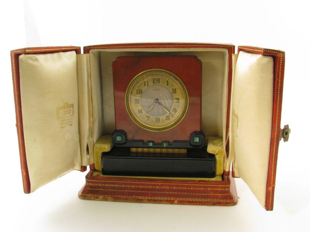 Women's CARTIER Art Deco jasper, black onyx and malachite clock. For Sale