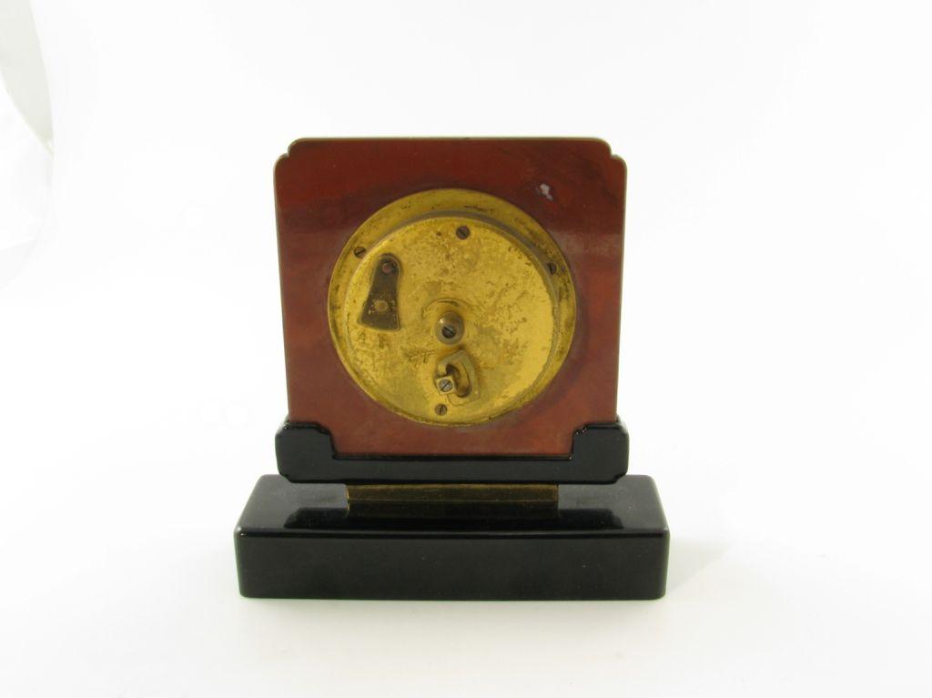 CARTIER Art Deco jasper, black onyx and malachite clock. For Sale 1