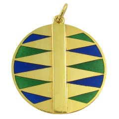 A. CIPULLO yellow gold, green and blue enamel backgammon pendant