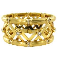CARTIER fabulous yellow gold and diamond cuff bracelet