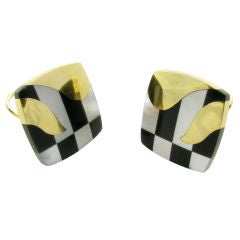 TIFFANY & CO. gold, onyx, hematite and mother of pearl earrings