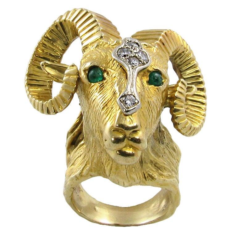 Ram Head Ring Silver