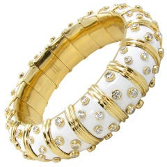 TIFFANY SCHLUMBERGER Classic Gold, Enamel and Diamond Bangle