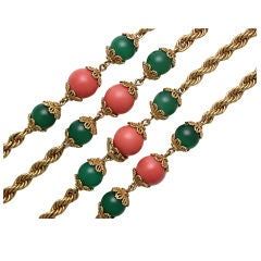 Pair of French Coral Green Onyx Nesting Long Chains