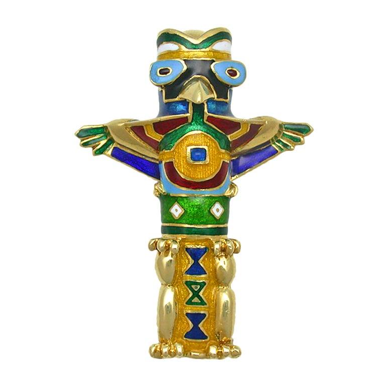 VAN CLEEF & ARPELS Gold & Enamel Totem Pole Brooch