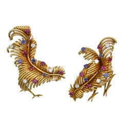 Pair Whimsical French Bird Brooches