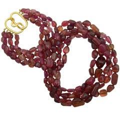 Verdura Pink Tourmaline Bead Necklace
