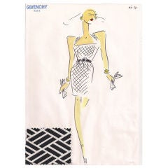Givenchy Croquis of a Cocktail Dress