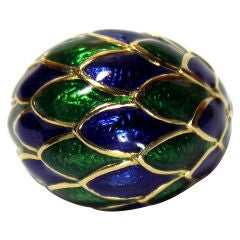 Marvelous DAVID WEBB Dome Ring with Blue and Green Enamel