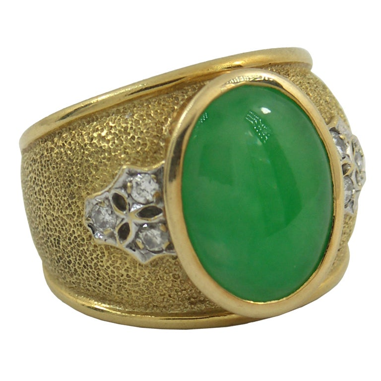 jade and ring in gold at 1stdibs