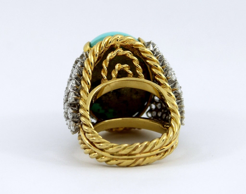 turquoise ring with embelished sides at 1stdibs