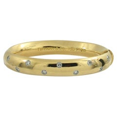 Tiffany & Co. Gold Cuff with Diamonds in Platinum Bezels