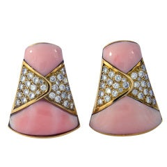French Angel Skin Coral and Diamond Earrings