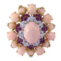 1960s Angel Skin Cora Ruby Diamond Brooch