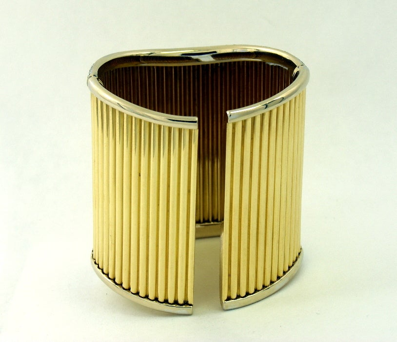 Contemporary Diamond Set Gold Cuff Ribbed Design Bracelet For Sale
