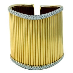 Diamond Set Gold Cuff Ribbed Design Bracelet