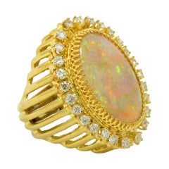 Over the Top Opal Ring with Diamonds