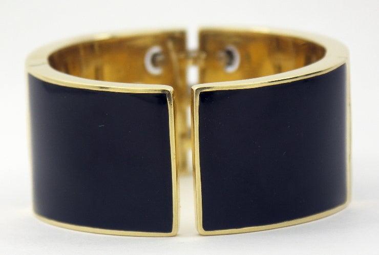 David Webb Black Enameled Diamond Gold Bangle In Excellent Condition For Sale In Blue Ridge, GA