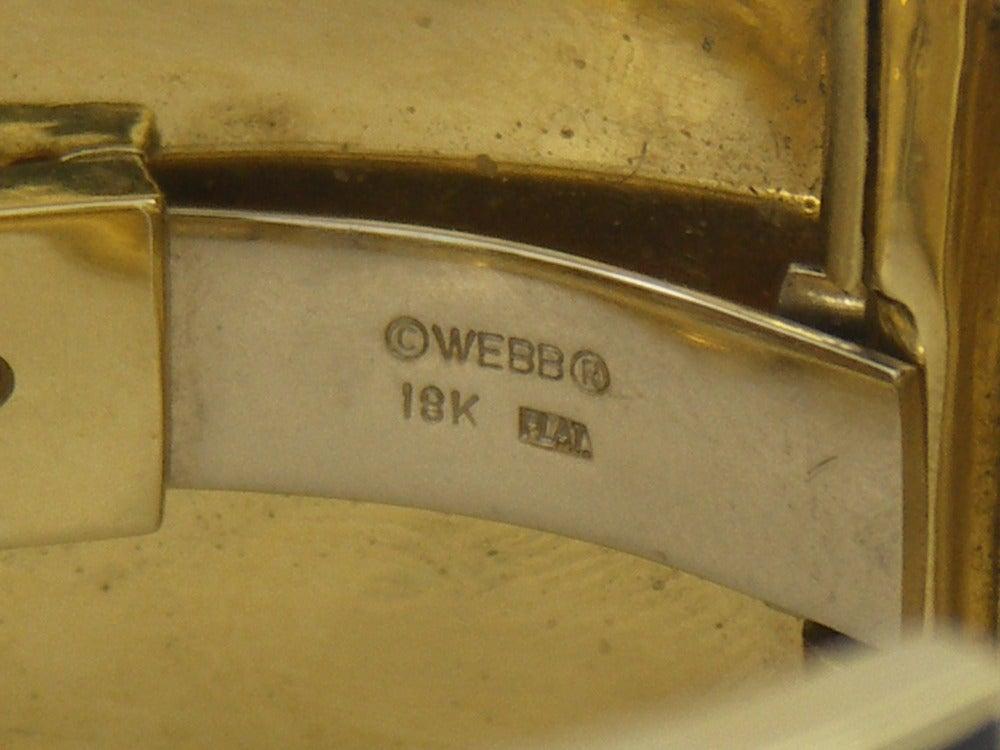 David Webb Black Enameled Diamond Gold Bangle For Sale 1