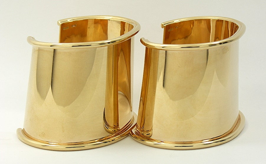 Matched Pair of Gold Cuff Bracelets image 2