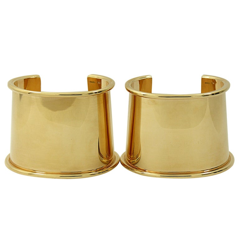 Matched Pair of Gold Cuff Bracelets