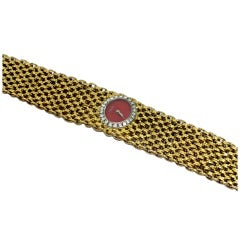 Piaget Lady's Yellow Gold Bracelet Watch with Coral Dial and Diamond Bezel