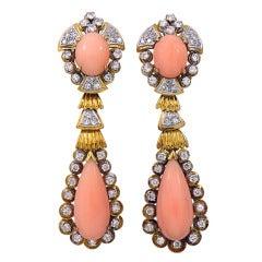 Angel Skin Coral Diamond Gold Earrings