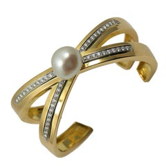 Tiffany & Co. Paloma Picasso Diamond X Bangle with Pearl