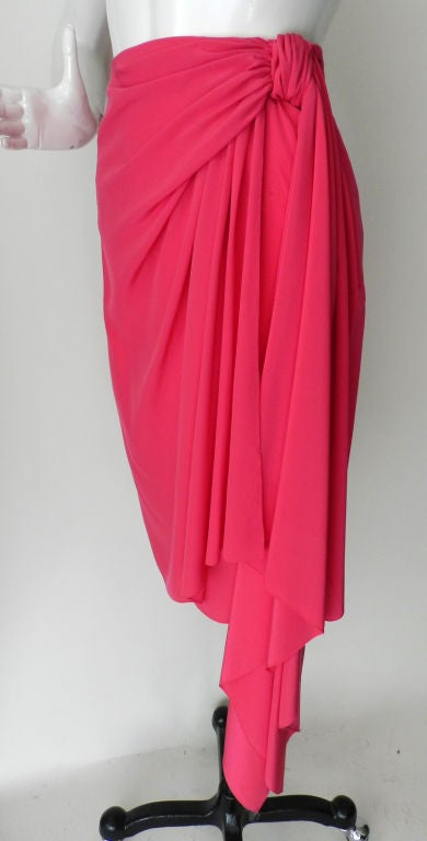 Valentino Hot Pink Silk Skirt image 2