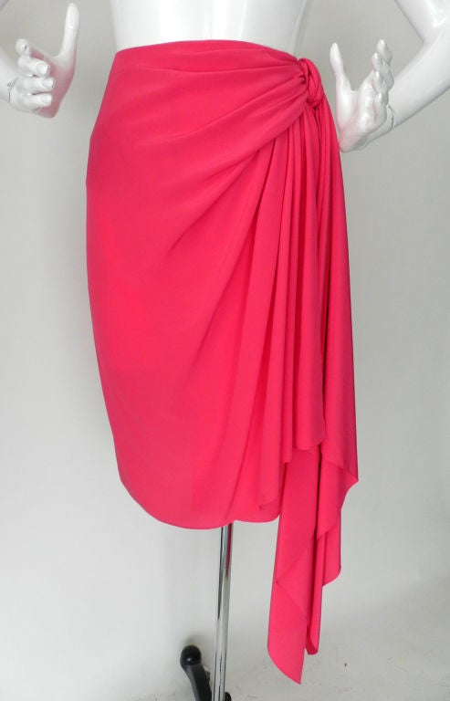 Valentino Hot Pink Silk Skirt image 6
