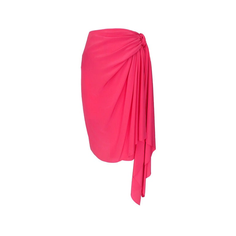 Valentino Hot Pink Silk Skirt