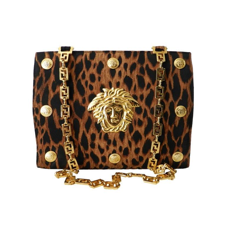 Gianni Versace Couture Iconic Leopard Medusa Purse
