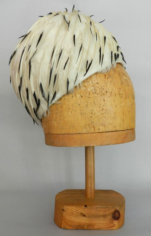Christian Dior 1960's White Feather Hat 2