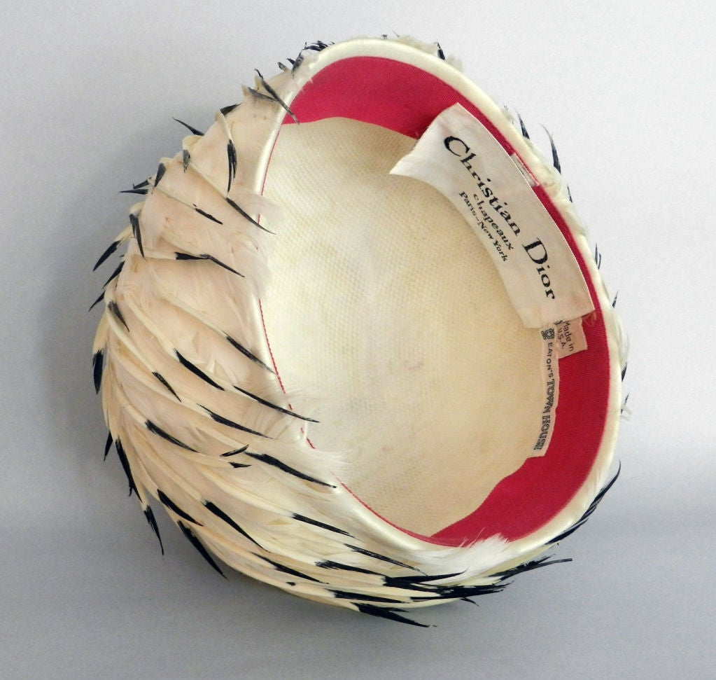 Christian Dior 1960's White Feather Hat 3