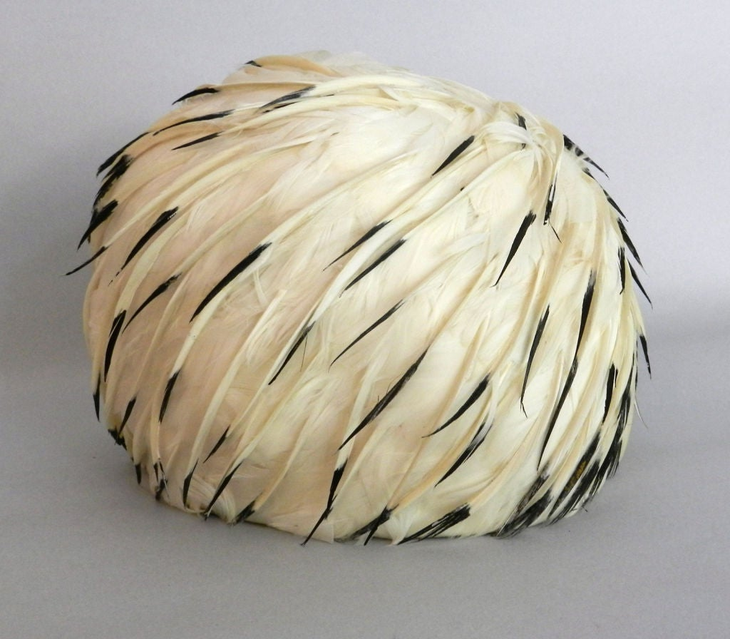 Christian Dior 1960's White Feather Hat 6