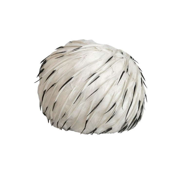 Christian Dior 1960's White Feather Hat 1
