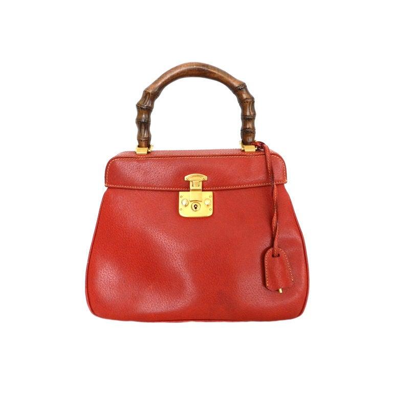 Vintage Gucci Brick Red Bamboo Handle Bag At 1stdibs